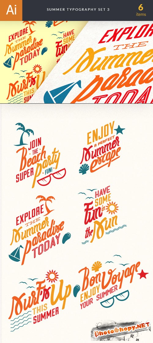 Summer Typography Vector Illustrations Pack 3