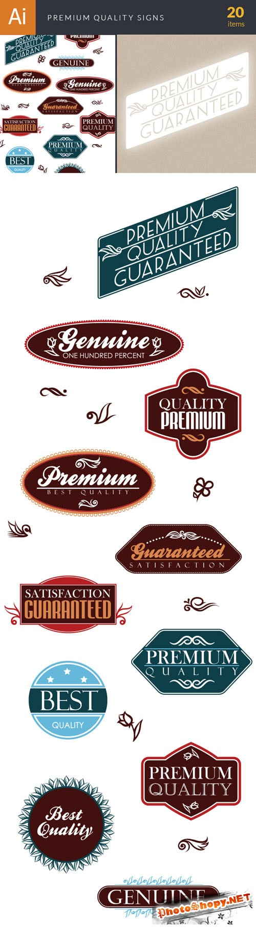 Premium Quality Signs Labels Vector Elements