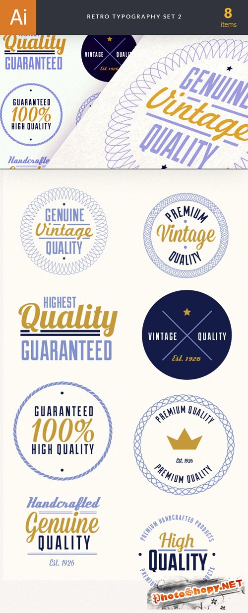 Retro Typographic Vector Elements Set 2