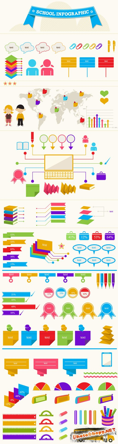 School Infographic Vector Illustrations