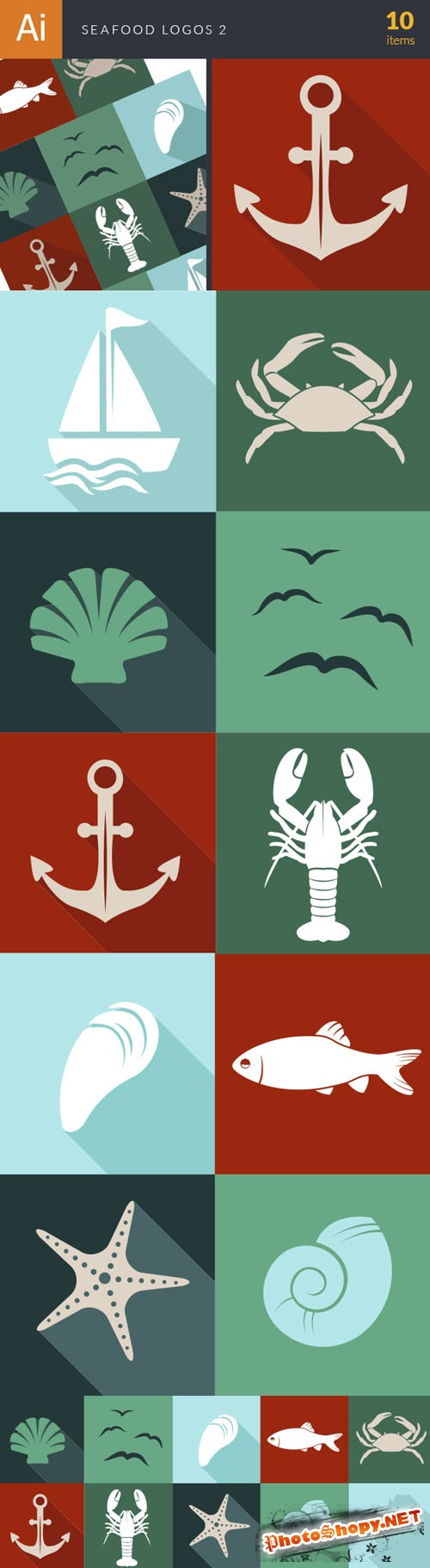 Seadfood Logos Vector Illustrations Pack 2