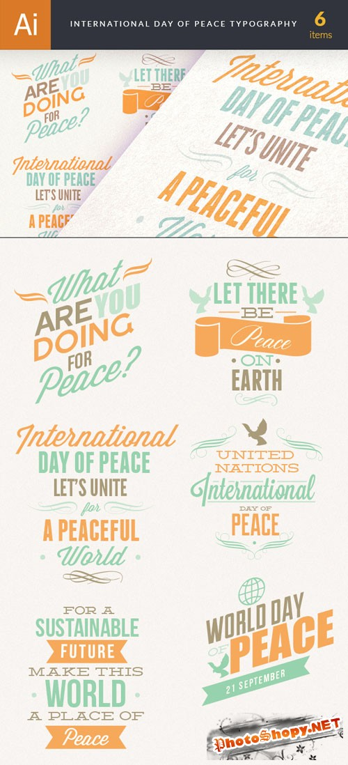 International Day of Peace Typography Vector Illustrations