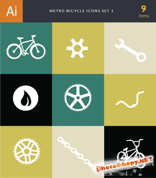 Metro Bicycle Shop Vector Icons 1