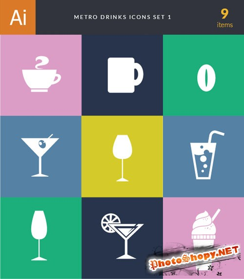 Metro Drinks Vector Icons 1