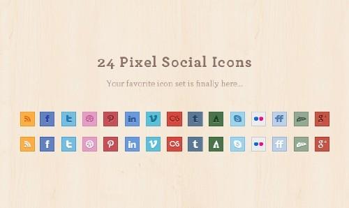 24 Pixel Social Media Icons