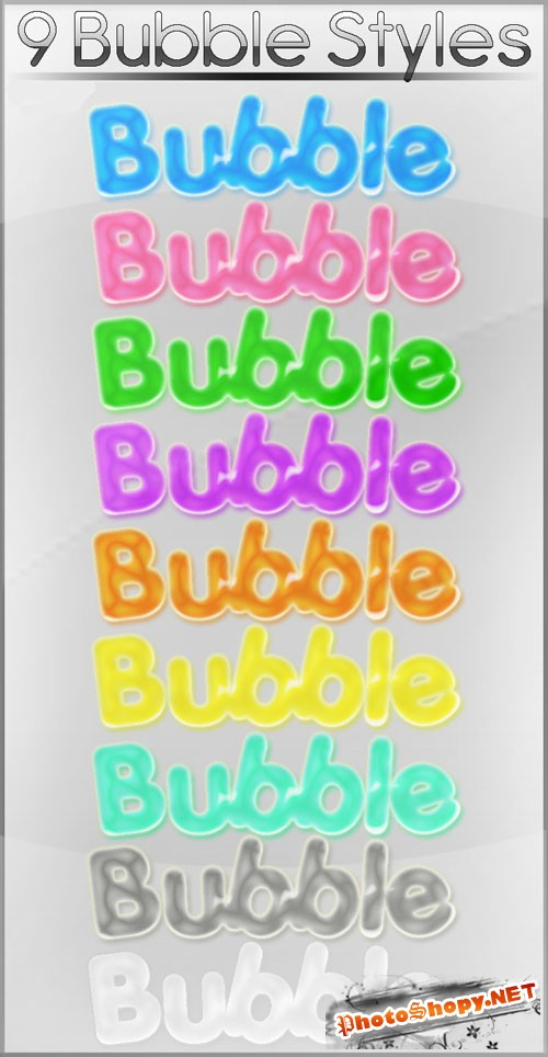 9 Colourful Bubble Photoshop Styles