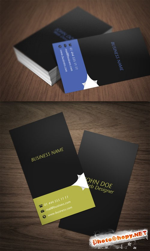 Premium Business Card Mock-Up PSD Template #5 - Page Curl