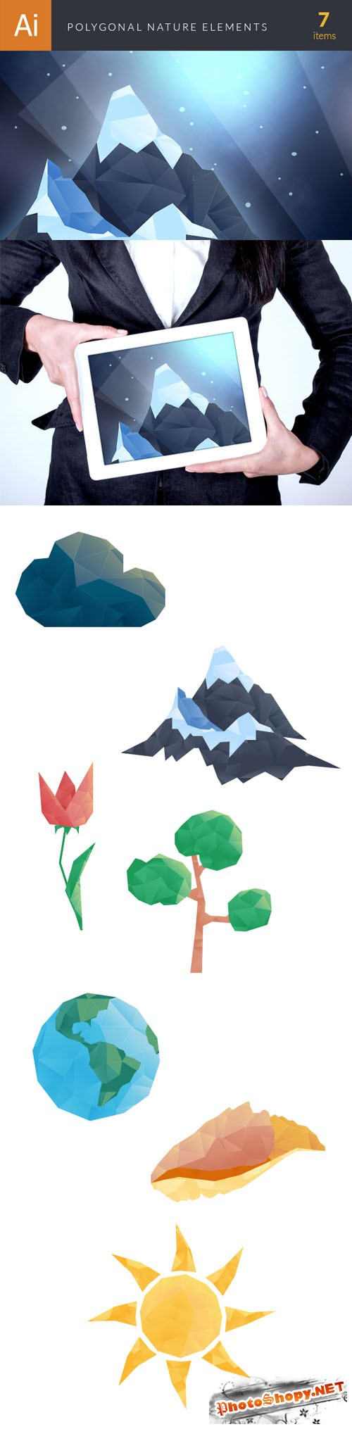 Nature Polygonal Vector Elements