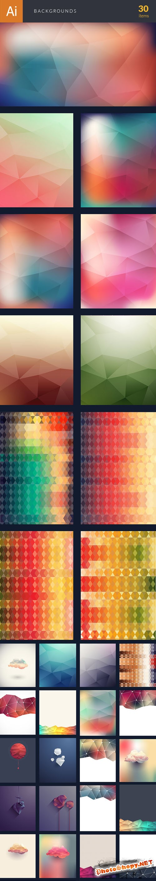 Premium Polygonal Backgrounds Vector Elements