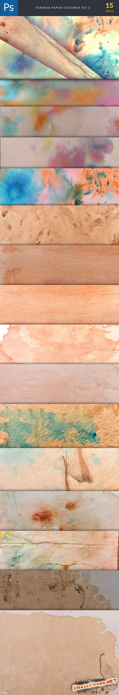 Stained Paper Background Textures Set 2