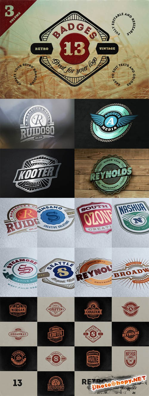 13 Retro Signs or Badges Volume 3 PSD