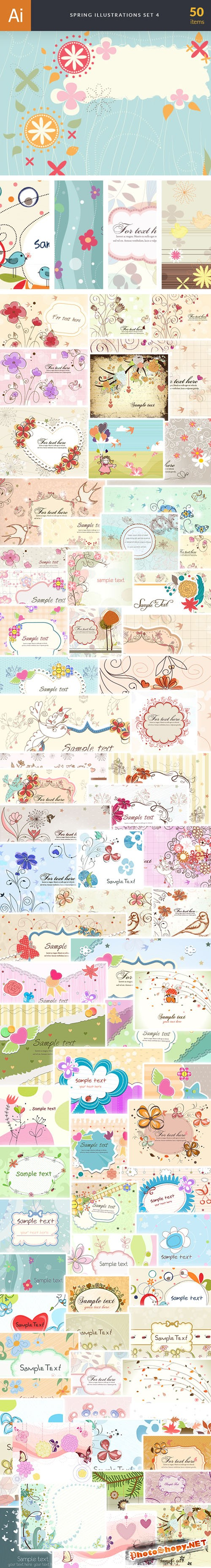 50 Spring Vector Illustrations Bundle