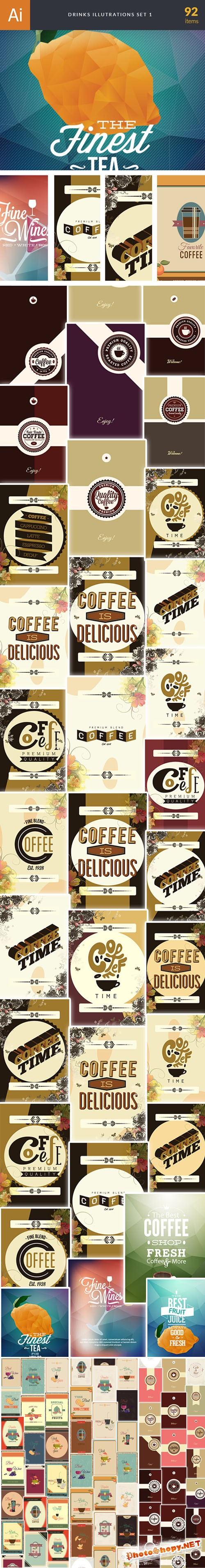 92 Drinks Vector Illustrations Bundle
