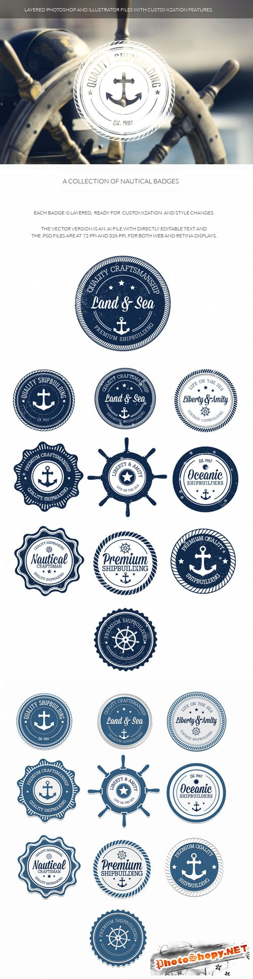 Nautical Badges Vector Elements Set