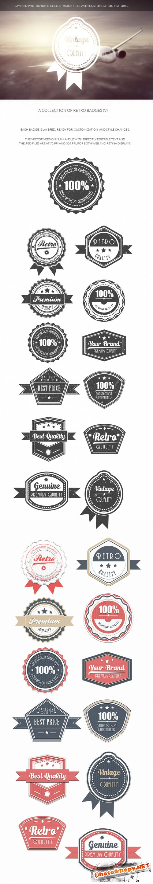 Retro Badges Vector Elements Set 5