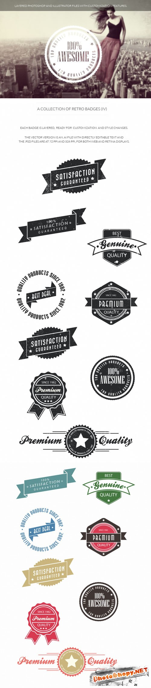 Retro Badges Vector Elements Set 4