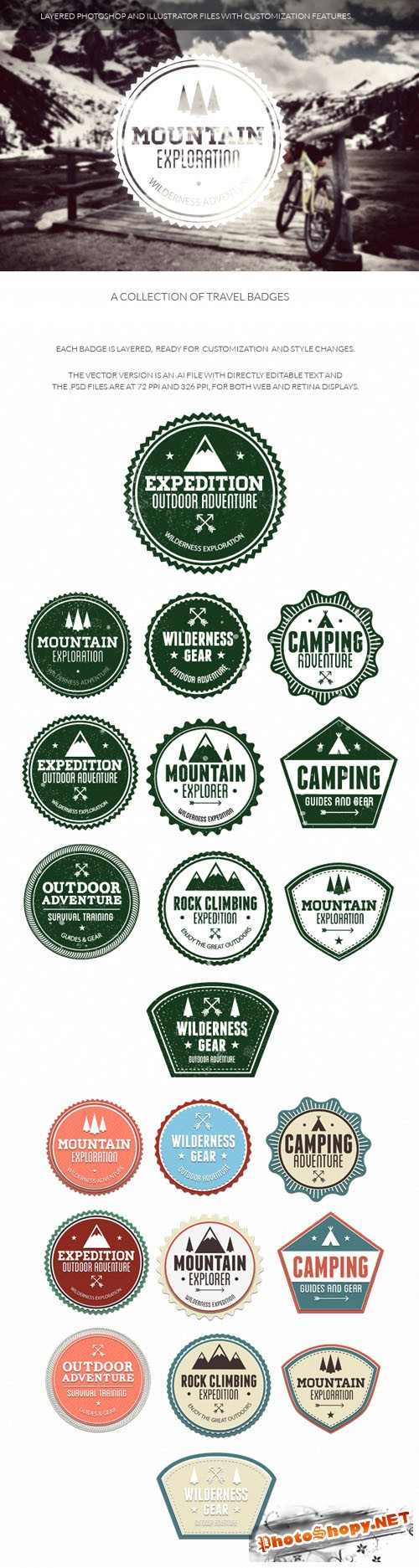 Travel Badges Vector Elements Set