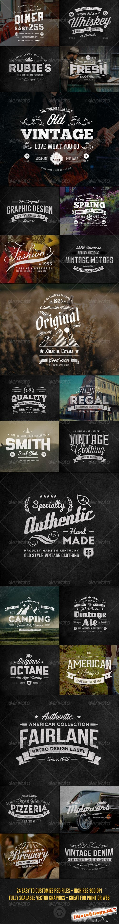 Graphicriver - 24 Vintage Labels and Logos Bundle 7255445
