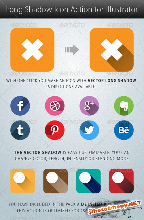 GraphicRiver - Long Shadow Icon Action for Illustrator 5281590