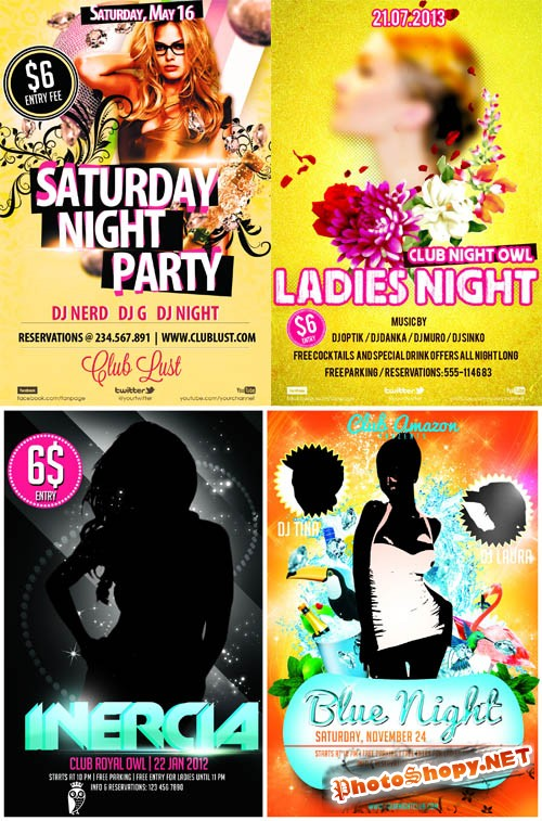 4 Ladies Night Club Posters