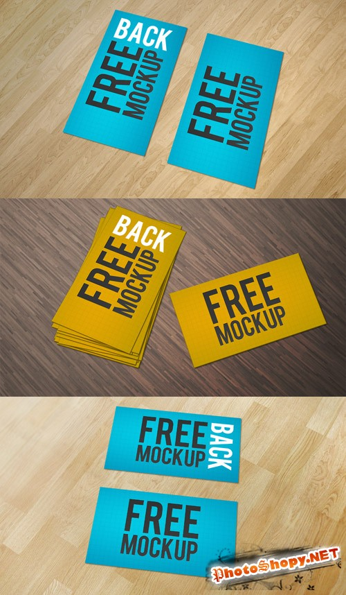 Business Cards Mockup with Wood Background PSD