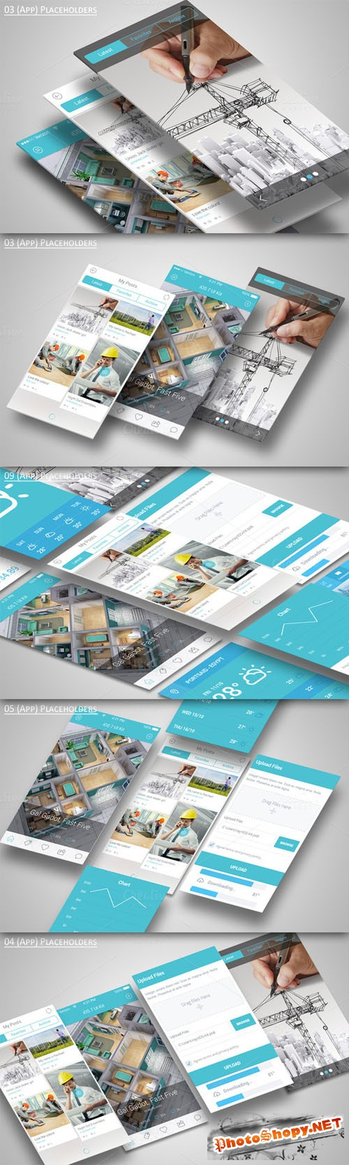CreativeMarket - Mobile Application Showcase Mockup