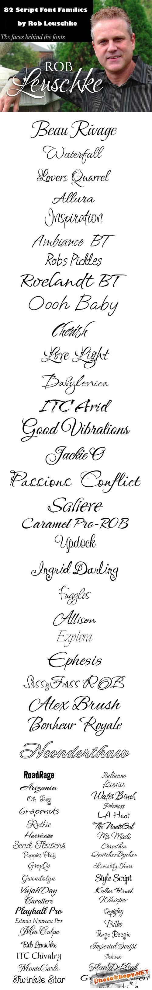 82 Script Font Families by Rob Leuschke