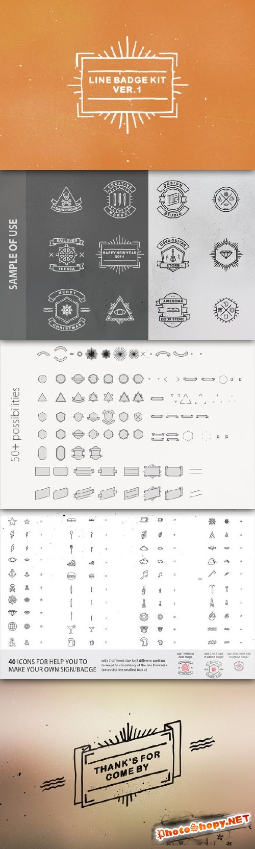 CreativeMarket - Line Badge Kit ver. 1