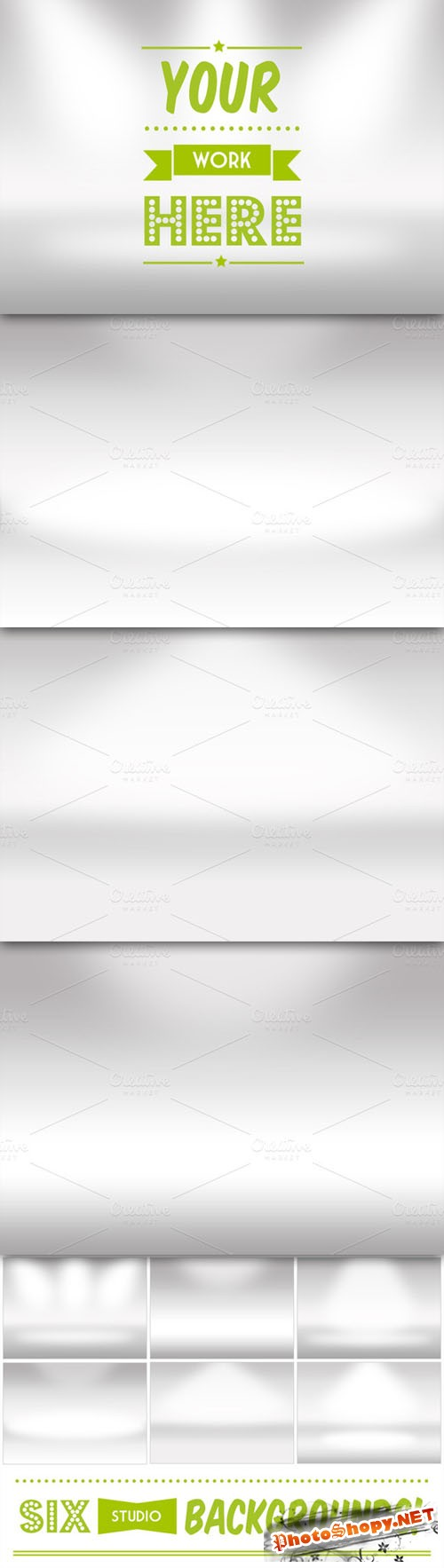 Creativemarket - 6 Infinite White Room Backgrounds