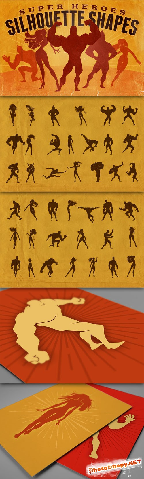 Creativemarket - Silhouette Shapes - Super Heroes