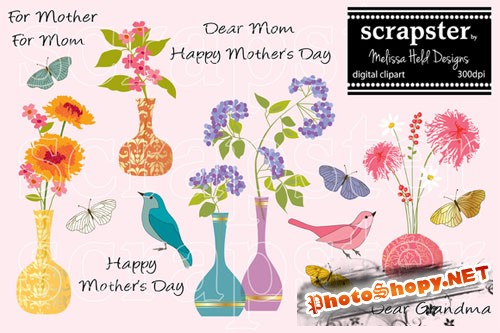 CreativeMarket - Mother's Day Card Clipart