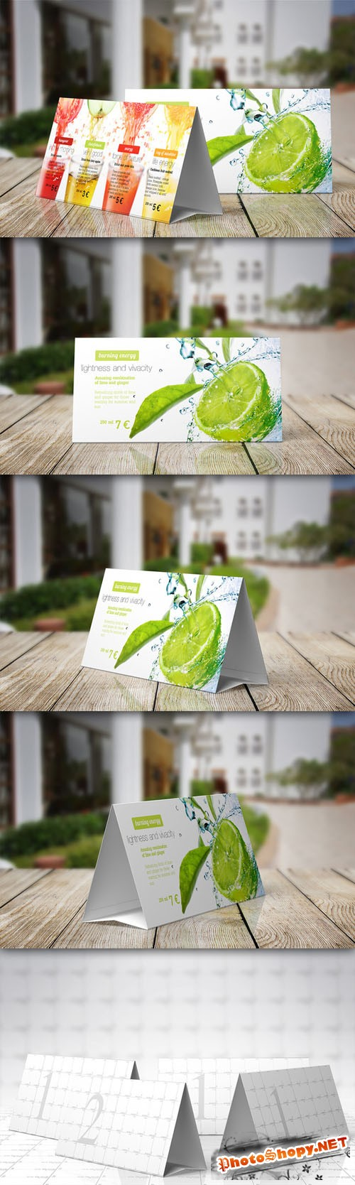 CreativeMarket - Table Tent Mock-up Template Vol.4