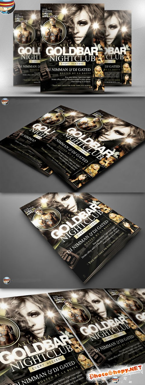 CreativeMarket - Goldbar Flyer Template