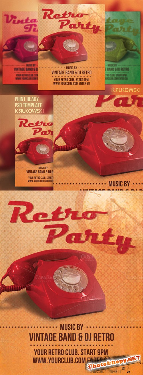 CreativeMarket - Retro Party Flyer Template