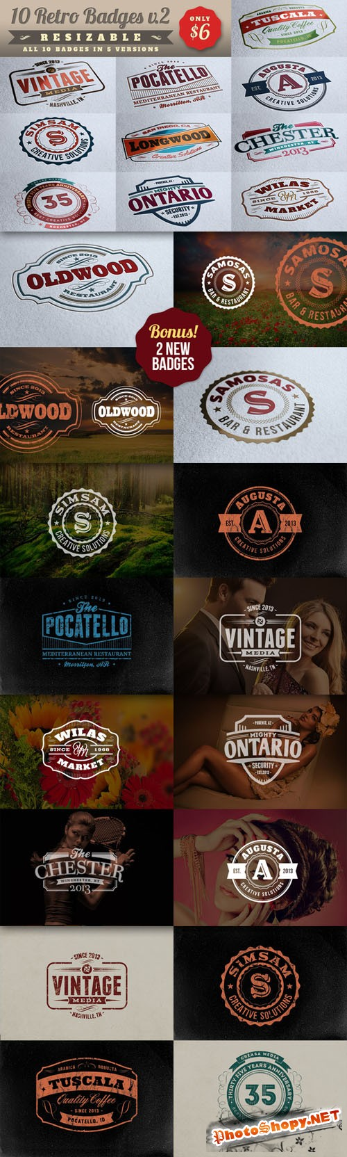 CreativeMarket - 10 Retro Signs or Badges v.2 + Bonus