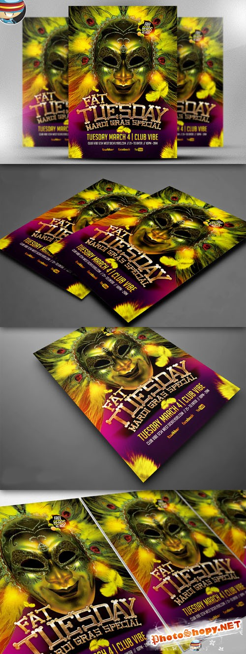 CreativeMarket - Fat Tuesday Mardi Gras PSD Flyer