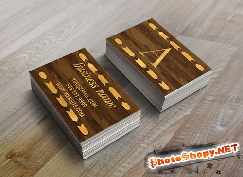 CreativeMarket - Wood & Gold Foil Arrow Business Card