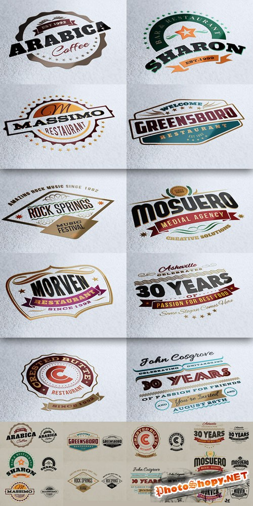CreativeMarket - 10 Retro Signs or Banners
