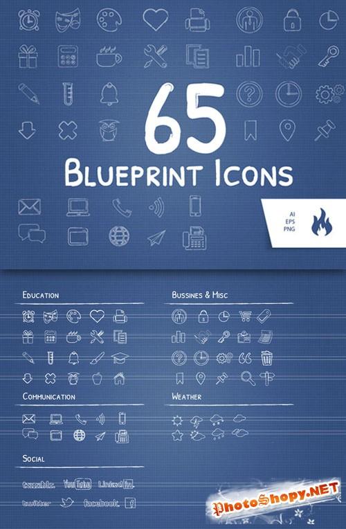 CreativeMarket - 65 Blueprint / Sketched Icon Set