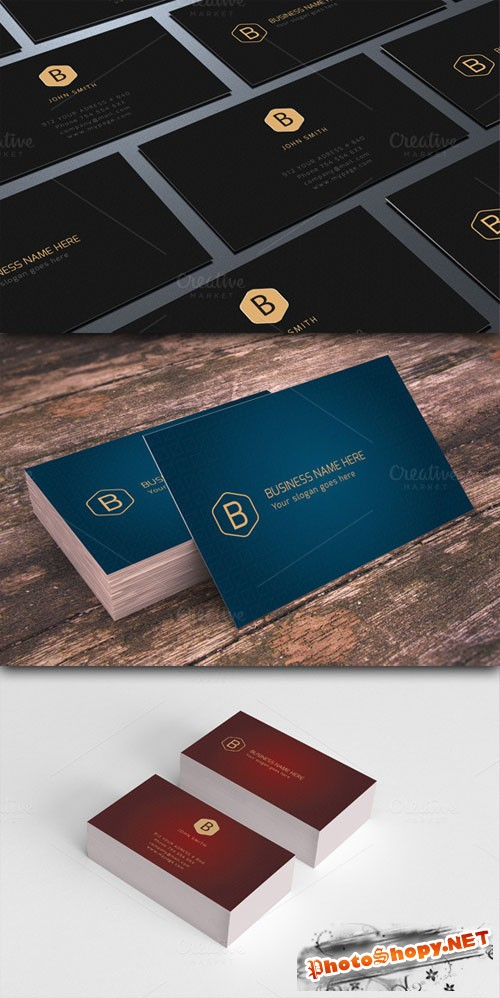CreativeMarket - Luxury Business Cards 3 in 1