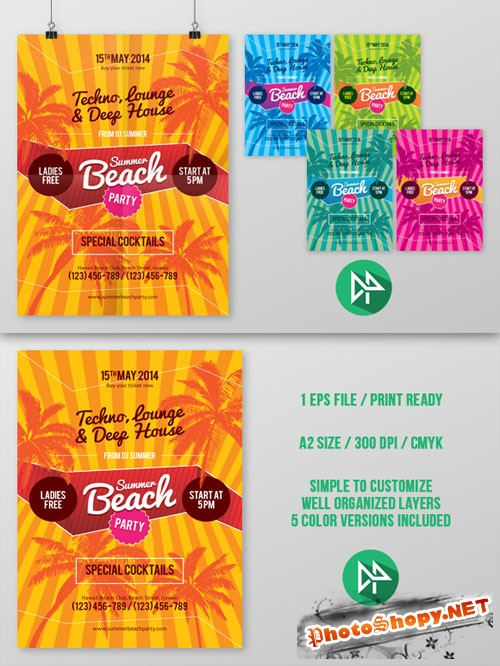 CreativeMarket - Summer beach party poster template