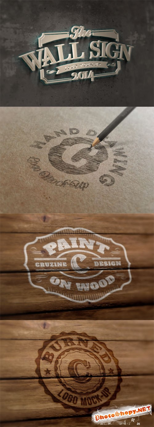 4 Photorealistic Logo Mock up Templates Vol 6