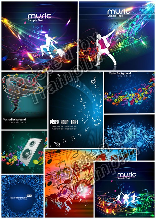 ����������� ���� � ������� -  Musical backgrounds in a vector