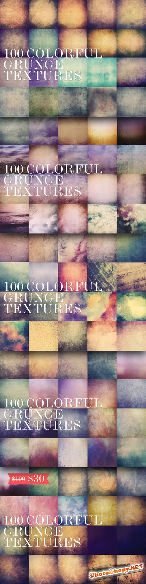 CreativeMarket - 100 Colorful Grunge Textures 5000px
