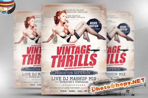 CreativeMarket - Vintage Thrills Flyer Template