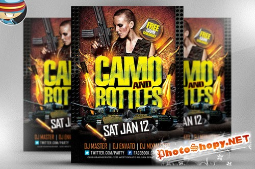 CreativeMarket - Camo and Bottles Flyer Template
