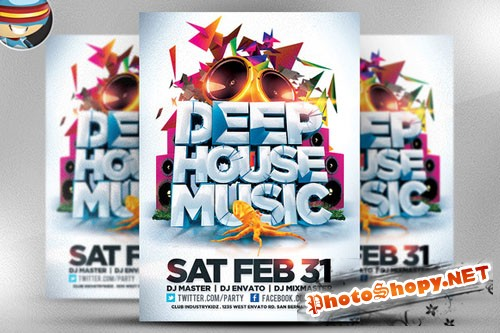 CreativeMarket - Deep House Music Flyer Template