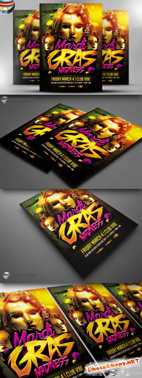 CreativeMarket - Mardi Gras Madness Flyer Template