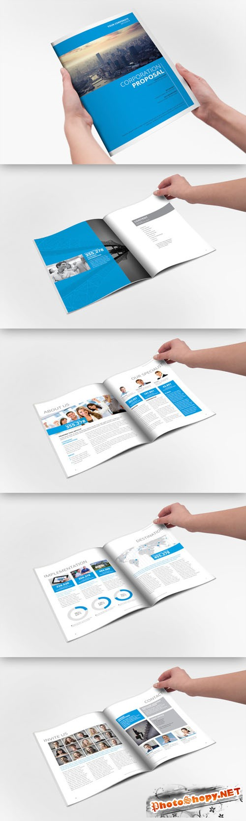 CreativeMarket - Clear Corporate Template Brochure 21556