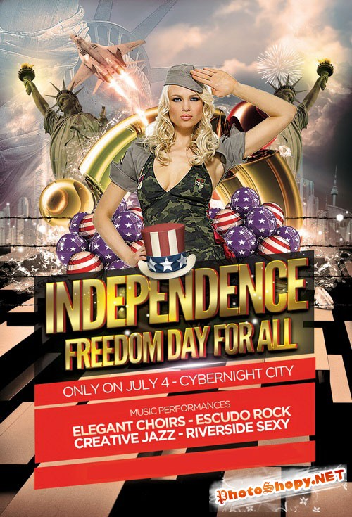 Independence Party Flyer/Poster PSD Template